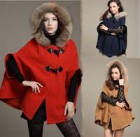 Fur Collar Cape Autumn Cloak Hooded Cape Woollen Coat 2014 Fashion European desigual Women Poncho Jacket Trench Long Overcoat