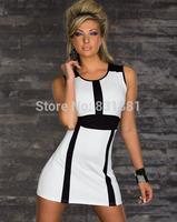 2014 women Style Slim Casual vestidos Bodycon Bandage dress,Fashion vestido de festa,Sexy black white Party dresses