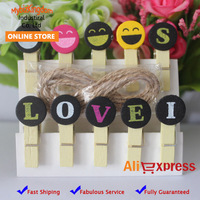 150 Pcs Smile Face Wooden Photo Paper Message Note Clips Pegs Christmas Party Favor Supply Letter LOVE IS