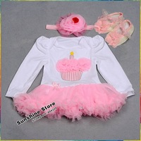 Cupcake Baby Dress,Long Sleeve Toddler Costumes,Bebe Vestido Cake Headbands Flower Shoes Set,Baby Walker,#3T0066 3 set/lot