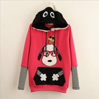 [Alice] red glasses cartoon Dog patch pocket women's cotton hoodies with hoody winter fleece warm casual sweatshirt 3 colors