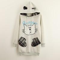 [Alice] lovely cat cartoon hoodies winter new style with hoody cotton sweatshirts for women patch fail pocket warm sweatshirts