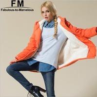 Winter Coat Women New 2014 Plus Size Long Sleeve Fleece Hooded Parka Candy Color Zipper Overcoat Casual Outwear XXXL AW14J014