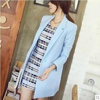 blazer feminino body Korean Ladies' Spring Autumn 2014 Fashion Elegant Long Design slim blazer plus size long-sleeve jacket suit