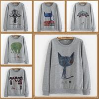 2014 autumn women's cotton hoodies long sleeve pullover sweater women sweatshirt A variety of styles Printed Pattern gray hoody
