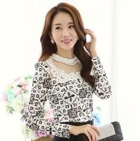 blusas femininas 2014 casual camisas femininas XL new fashion Korean lady long sleeve lace chiffon shirt plus size women blouse