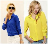 sale womens tops fashion 2014 women work wear Blouses V-neck Loose long sleeve chiffon sheer shirts ladies tops camisa feminina