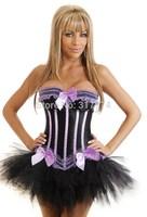 Hot Plus Size Sleepwear Sexy Women Lace Tops Steel Bustier Lingerie Overbust Corset Dresses (S,M,L,XL) 2184