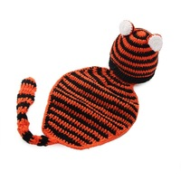 1pcs Infant Baby Handmade Wool Knit Crochet Tiger Pattern Hat Cap Photography Photo Prop Jumpsuit