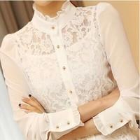 camisas femininas S -XXL New 2014 Fashion White Lace Blouse Women Elegant Chiffon Lace Shirt Women Hollow Out blusas femininas