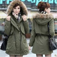 Women's Long Military Large Faux Fur Collar Cotton Coat,Thick Winter Snow Warm Cotton Coat Outwear Women,3 Color,Size M-XL,J6599
