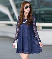 Lace Dress 2014 New winter sexy big plus size clothes for women long sleeve lady vestido de festa Casual dress Tunic L~3XXXL,4XL