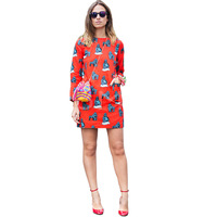 2014 New Free Shipping Beneath The Planet Of The Apes Print Dress Casual Pockets Full Dress S,M,L,XL,2XL,3XL,4XL