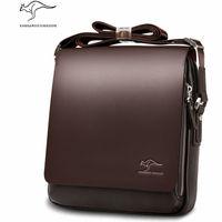 Genuine cowhide Leather Shoulder leisure handbag Kangaroo men's zipper bags business messenger briefcase Laptop Casual Man Purse
