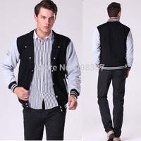 2014 Cotton Autumn / Winter New Men's baseball jacket Men's casual wear Loose sweater coat Black Light gray