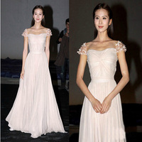 Celebrity Style Lace Shoulder Pleated Bust Host Party Dresses 7 Color Chiffon Sisters Bridesmaid Dress