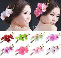 1PC Fabric Orchid Flower Hair Clips Wedding Party Bride Hair Decor Women Girls Hair Accessories