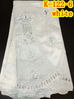 Fashion embroidered african white george lace fabric with sequins 5 yards per lot!  K-122-6
