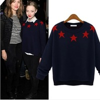 2014 Europe and the United States Star pattern Ladies' knit Pullovers sweater womens loose wool coat female Round collar sweater