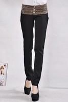 2014 spring new models fold stitching leopard harem pants Korean version of women's pants trousers feet women's OL pant