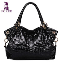 FOXER new 2014 tote crocodile pattern cowhide handbag famous brands wristlets bag fashion shoulder bags women leather handbags