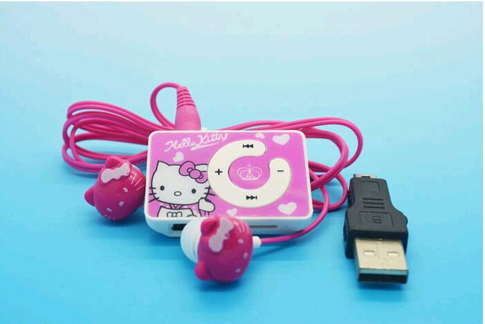 The Newest Mini Fashion Hello Kitty Shaped Card Reader MP3 Music Player With Hello Kitty Earphone+Mini USB(China (Mainland))