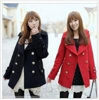 2014 women's coat peppers double buckle woolen coat lapel coat jacket and long sections winter Jacket