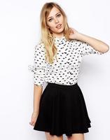 2014 new fashion women sweet cute cloud printed long sleeve chiffon blouse Lady casual slim brand design  shirt #J335