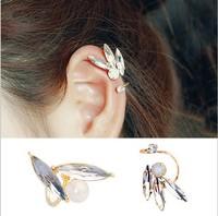 Korea style women's shiny crystal earring clip fashion elegant female ear bone clip earring cuff u shape gold color wholesale
