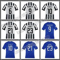 Free shipping 2014-15 Home White Black Away Blue Regalia top Thai version soccer Jersey TEVEZ,POGBA,CHIELLINI,PIRLO,VIDAL