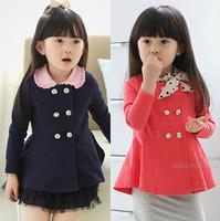 Size100~140 New spring autumn girls outerwear kids jackets  child coats children tops dark blue and watermelon red