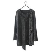 2014 new fashion women vintage punk rivet T-shirt  irregular stitching large size ladies casual blouse tops clothing B1203