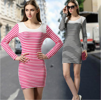 2014 New Slim tight sexy ladies fashion long-sleeved round neck Knit striped dress bottoming dress back zipper free shipping