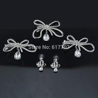 4Pcs/Set Crystal Bowknot Comb Hairpin Earrings Sets Wedding Jewelry Sets Imitation Gemstone Jewelry JZJ008