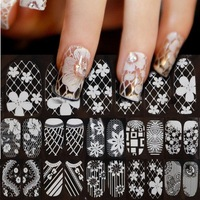 5sheets/lot New 3D Lace White Transparent Crystal Nail Art Tips Sticker Flower Sexy Nail Full Wraps Polish Decals DIY