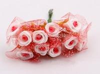 2CM artificial floral foam eva mini bicolor roses with silk,diy craft decoration for garland hair,candy box.arrangement  bouquet