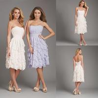 Charming Scoop A-line Chiffon Lavender Bridesmaid Dresses E41