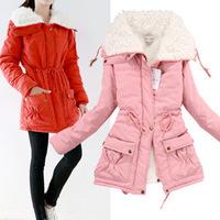Women's Thicken Large Faux Fur Collar Down Cotton Coat,Winter Snow Warm Cotton Coat Outwear For Women,6 Colors,Size S-XL,J8009