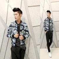 Free shipping! The new ... Men's Slim nightclub hairstylist fashion baseball jacket collar w48