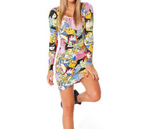 2014 Free Shipping Autumn Women Long Sleeve One Piece Dress Sexy Club Dress Montage Adventure Time Pattern Support Wholesale