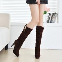 Women's high-heeled boots waterproof stretch rhinestone pendant