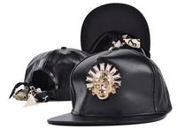 Letter logo hip hop hat  Men and women fashion leather flat brimmed hat