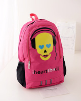 free shipping 2014 new fashion women canvas skeleton backpack school student punk rucksack children school bags for or teenagers