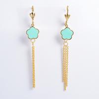 2014 Fashion Women's Titanium Steel Gold Blue Flower Tassel   Drop Earrings Cute Earrings