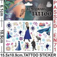 Wholesale - Free Shipping Frozen Elsa & Anna Removable Temporary Tattoo Sticker Decor Fashion Waterproof Sticker For Tattoo Stic