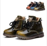 2014 winter male child leather genuine leather children martin boots