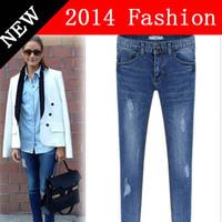 2014 new long fashion 3 colors women's jeans woman wholesale clothing women casual slim cheap jean denim skinny jeans 912LX