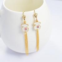 2014 Fashion Women's Titanium Steel Gold Bear Tassel   Drop Earrings Cute Earrings