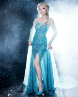 Free Shipping Customized Deluxe Princess Elsa Dress in Frozen Movie Cosplay Costume