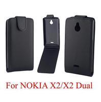 12PCS Black case for Nokia X2 flip leather case for Nokia X2 PU leather case cover Free shipping